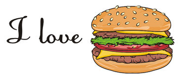 Burger with letters. Black inscription i love burger with burger Stock Photography
