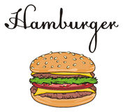 Burger with letters. One burger with black her name Royalty Free Stock Photography