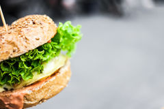 Burger with lettuce Stock Image
