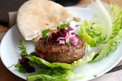 Burger with lettuce and pita bread Stock Photography