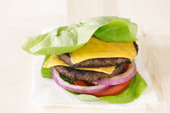 Burger lettuce wrap close up Stock Photos