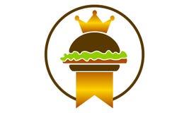 Burger Logo Design Template国王 免版税库存照片