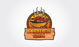 Barbeque Grill Vector Logo. A clean and modern Barbeque grill Logo Template. This could be used in barbecue stations, outdoor bbq, grill, restaurants and etc stock illustration