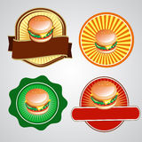 Burger Logo. Four burger logo or label Stock Photos