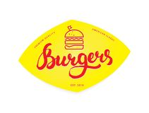 Burger logo or icon, emblem. Outline design with Calligraphy lettering on a yellow background. Vector illustration vector illustration