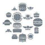 Burger logo icons set, simple style. Burger logo icons set. Simple illustration of 16 burger logo vector icons for web Royalty Free Stock Image