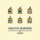 Burger logo in linear style. Burger lBurgers with organic vegetables, beans, mushrooms. For grill cafe or restaurant.ogo in linear style Royalty Free Stock Photography