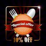 Burger logo with ribbon on the black background. Special offer 10 off. stock illustration