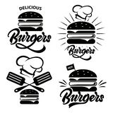 Burger logo set with lettering. Emblem, icon, label for restaurant or cafe design. Burger lettering illustration.Vector stock illustration