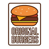 Burger Logotype Template. With different ingredients in flat style on white background  vector illustration Stock Image