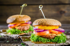 Burger made from vegetables and beef Stock Images