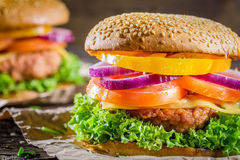 Burger made from vegetables and beef Royalty Free Stock Images