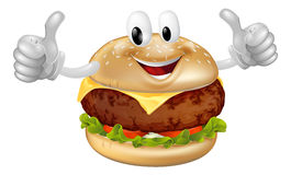 Burger Mascot. Illustration of a cute happy beef or cheese burger mascot man smiling and giving a thumbs up Royalty Free Stock Photo