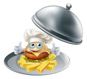 Burger mascot and chips on platter Stock Photo