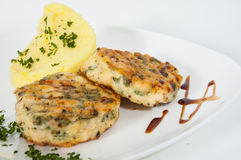 Burger with mashed potatoes Stock Images