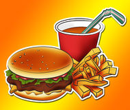 Burger meal. Illustration of a burger with chips and drink Stock Image