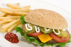 Burger meal Stock Photos