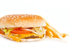Burger with measure tape Royalty Free Stock Images