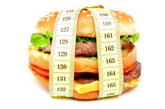 Burger at a measuring tape Stock Photos