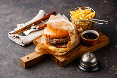 Burger with meat and French fries Stock Image