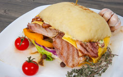 Burger with meat, tomato, onion, cheese, lettuce Stock Photos