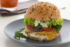 Burger . Burger with meat and vegetables Royalty Free Stock Image
