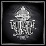 Burger menu chalkboard design Stock Images