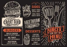 Burger menu food template for restaurant with doodle hand-drawn. Burger menu template for restaurant on a blackboard background vector illustration brochure for vector illustration