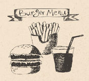 Burger menu hand drawn illustration. On recycled paper texture Royalty Free Stock Photography