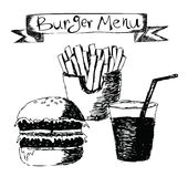 Burger menu hand drawn illustration Stock Images