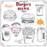 Burger Menu hand drawn sketch. Fastfood Poster with hamburger, cheeseburger, potato sticks, soda can, coffee mug and beer can. Vec Royalty Free Stock Photo