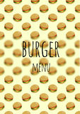 Burger menu page. Page template for a burger restaurant menu Stock Photos