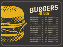 Burger menu with price list Stock Photography
