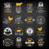 Burger menu restaurant badges. Fast food design template. Burger menu restaurant badges. Food design icons with hand-drawing elements. Graphic labels for fast Royalty Free Stock Image