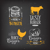 Burger menu restaurant badges. Fast food design template. Burger menu restaurant badges. Food design icons with hand-drawing elements. Graphic labels for fast Stock Photography