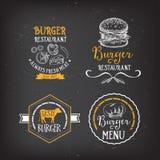 Burger menu restaurant badges. Fast food design template. Stock Images