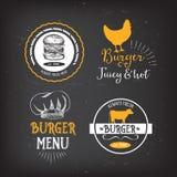 Burger menu restaurant badges. Fast food design template. Stock Photos