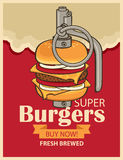Burger in military grenade Royalty Free Stock Photos