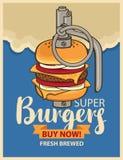 Burger in military grenade Stock Photos