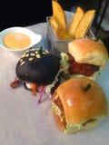 Burger. Mini burgers breakfast Stock Photography
