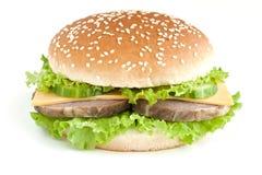 Burger mit Fleisch und Gemüse Stockbild