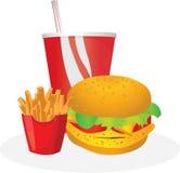 Burger mit Getränk und Pommes-Frites Stockfotos