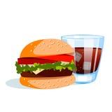 Burger mit kaltem Getränk Stockfotografie