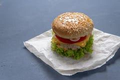 Burger mit Rindfleischpastetchen, Salat, einer Scheibe der Tomate und des Käses, Zwiebeln und Soße mit Paprika in einem gegrillte stockfotos