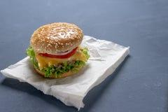 Burger mit Rindfleischpastetchen, Salat, einer Scheibe der Tomate und des Käses, Zwiebeln und Soße mit Paprika in einem gegrillte stockbilder