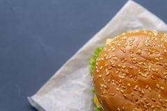 Burger mit Rindfleischpastetchen, Salat, einer Scheibe der Tomate und des Käses, Zwiebeln und Soße mit Paprika in einem gegrillte lizenzfreies stockfoto