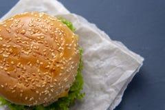 Burger mit Rindfleischpastetchen, Salat, einer Scheibe der Tomate und des Käses, Zwiebeln und Soße mit Paprika in einem gegrillte lizenzfreies stockbild