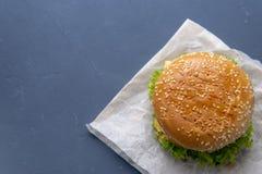 Burger mit Rindfleischpastetchen, Salat, einer Scheibe der Tomate und des Käses, Zwiebeln und Soße mit Paprika in einem gegrillte stockfotografie