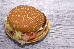 Burger mit Salat in einer schönen Platte lizenzfreie stockbilder