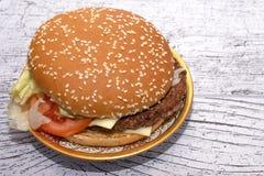 Burger mit Salat in einer schönen Platte stockbilder